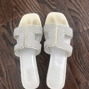 Dune white and silver sandals size 39